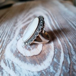 Jewelry - Genuine Mother-of-Pearl, Marcasite & SS oval ring
